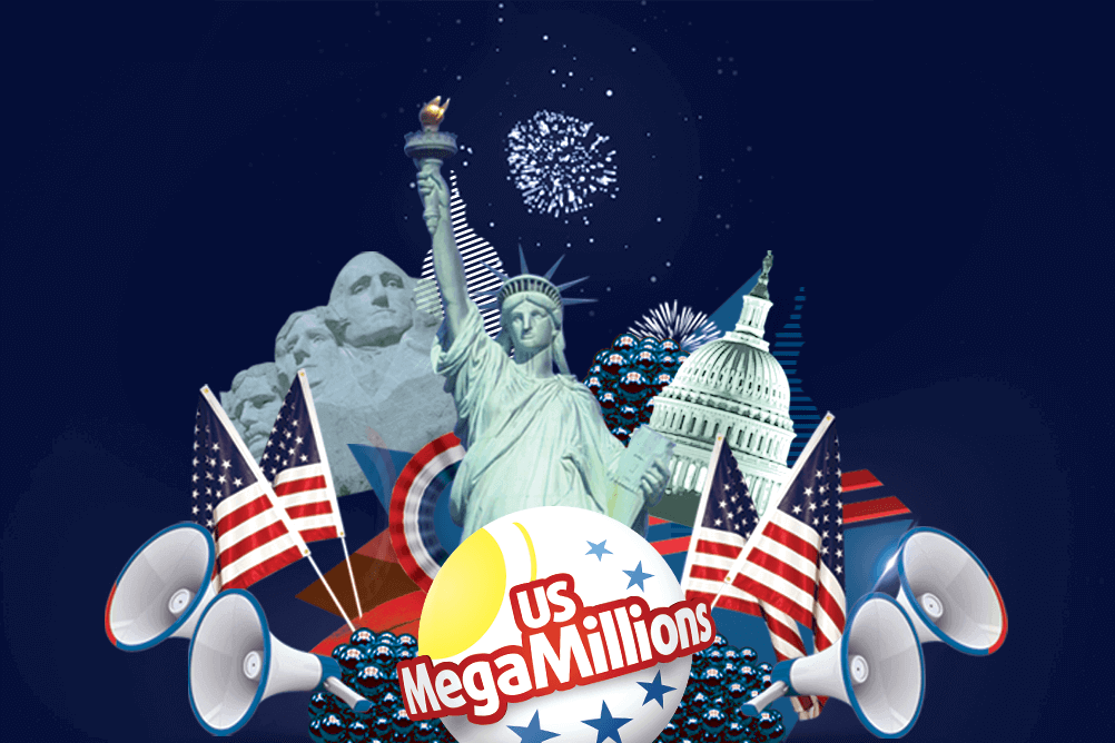American symbols surround the MegaMillions lottery icon